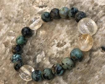 African Turquoise/ Citrine Gemstone Bracelet