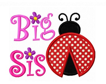 Big Sis With ladybug Applique Machine Embroidery Design NO:0210