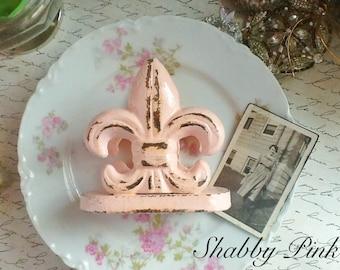 Shabby Pink Fleur De Lis Business Card Holder-Cast Irion-Cottae Style-Shabby Chic- French-Jet Black-Office Desk - Ebony Black-Spring