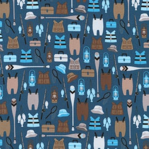 Denim Brawny Bears Fishing Equipment by Andie Hanna for Robert Kaufman quilting cotton blue fabric material by the yard or metre AHE1671567