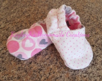 Flannel Reversible Baby Shoes Pink Dots Circle Hearts | Baby Girl | Crib Shoes | Booties | Baby Slippers | Soft Sole | Ready to Ship