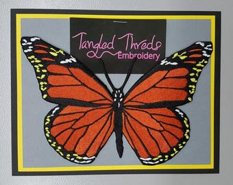 """Monarch Butterfly, Embroidered Patch 7"""" x 4.6"""""""