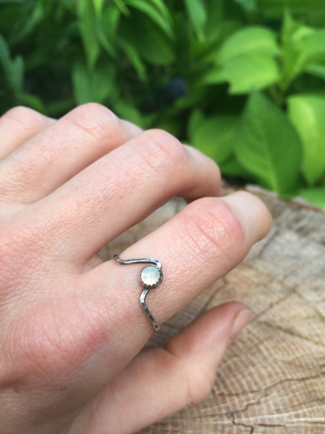 Moon Over the Mountain Ring Mountain Stacking Ring Moonstone