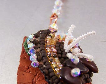 Copper Shard Necklace with Bead Embroidery Swarovski Crystals