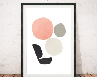 Abstract art print, Minimalist poster, Watercolor print, Watercolor art, Abstract circles, Pale colors art, Pastel colors art, 8x10