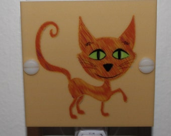 Sassy Yellow Cat With Green Eyes Hand Made Night Light With LED Fixture and Free Shipping