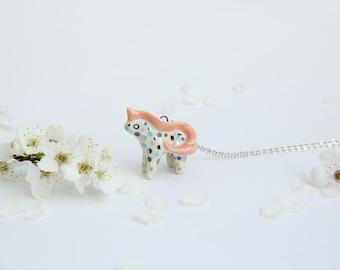 Unicorn Necklace, Pink Unicorn Charm, Unicorn Pendant Necklace, Cute Animal Necklace, Spirit Animal, Pink Unicorn Necklace, Ceramic Unicorn