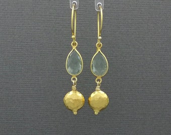 Green Amethyst & Gold Vermeil Hammered Bead Earrings