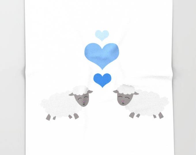 Fleece Sheep Blanket  - Lamb Kisses Bedding - Sheep and Hearts - Child's Fleece Throw Blanket - Made to Order