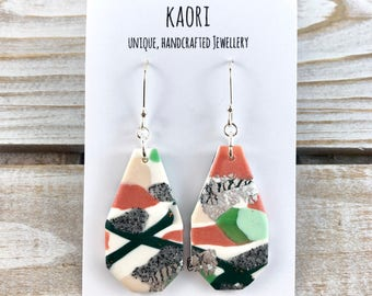 Earrings - Polymer clay earrings with sterling silver earring hooks- white, peach and green abstract with silver leaf