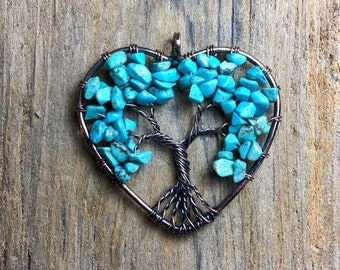 Turquoise Tree of life Heart