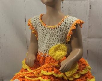 Handmade crochet Halloween Candy Corn Dress and Hat