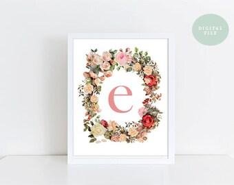 Monogram Wall Art  Letter E  Vintage Florals  INSTANT DOWNLOAD