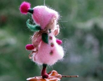 Christmas fairy ornament Needle felted ornament Waldorf inspired doll Winter ornament Felt ornament Tree decoration Romantic gift