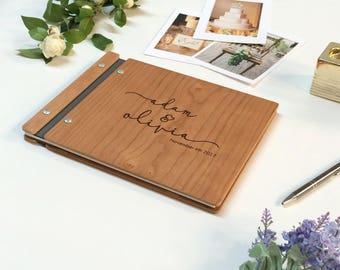 "Wedding Guest Book, Wood Guest Book, Photo Booth Guestbook, Rustic guest book, wooden guest book, Personalized Photo Album 8.5""x11"""