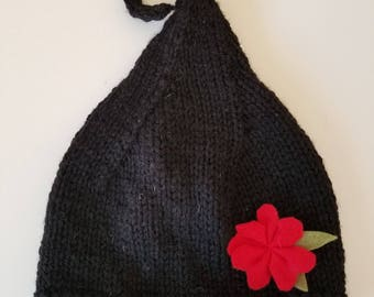 Black Fairy Hand Knit Baby Hat Beanie