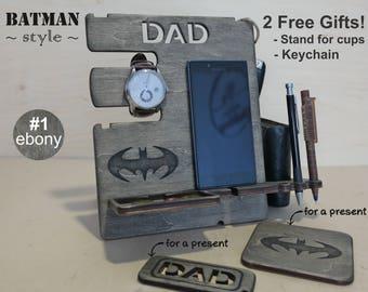 Mens birthday gift, Gift for him, Gift for men, Gift for husband, Gift for dad, Docking station, Iphone 8 Desk organizer, Batman friend gift