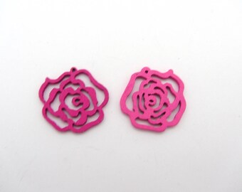 Lot of two pink flower wodden beads, wooden beads,pink beads,pink flower, earring making