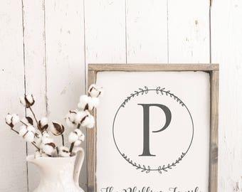 Personalized last name sign, monogram sign, wooden sign, farmhouse sign, wedding sign, bridal shower gift, entryway sign, established sign
