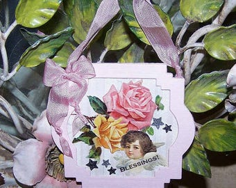 One of a Kind, Handmade, Ornament, Decoration, Blessings, Angel, Roses, Pink, Yellow, Holiday, Easter, Spring, Greeting Card, Birthday Card