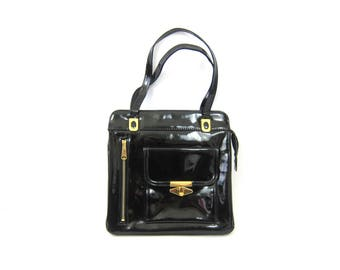 1960s black patent purse Shiny minimalist bag women's vintage purse Gold Hardware Shoulder Purse Hipster Retro MOD Street Style