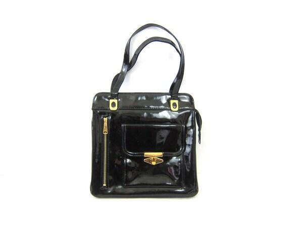 1960s black patent purse Shiny minimalist bag women's vintage purse Gold Hardware Shoulder Purse Hipster Retro MOD Street Style
