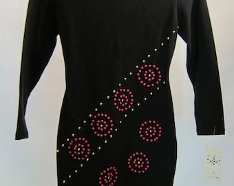 Vintage 80's Disco Black Jersey Mini Dress Top tunic 'B Mine' with original tags