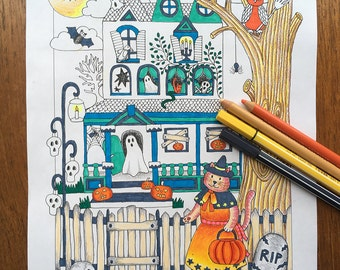 Halloween Coloring Pages, Halloween Coloring Sheet, Halloween Printable, Haunted House, Haunted Mansion, Cute Halloween, Trick or Treat
