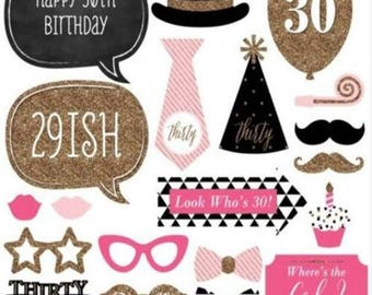 30th Birthday, Photo Booth Props, 20 Piece Set, Party Photo Props, Birthday Party Favor, Dirty Thirty Props, 30 birthday Props