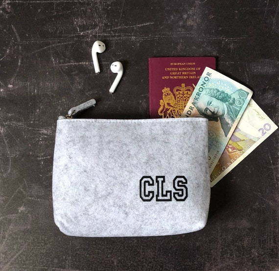 Personalised Felt Purse, Groomsmen Gift, Travel Wallet, Gift For Him, Wool Anniversary Gift, Gadget Accessories, Cable Storage
