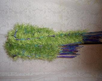 "Handknit green ""eyelash"" scarf/sash"