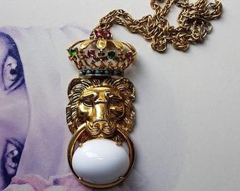 Vintage Rare PAULINE RADER Crowned Lion Necklace - SIGNED