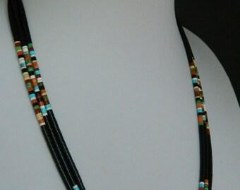"Native American Santo Domingo 3 Strand Turquoise Coral Jet Heishi Sterling Necklace Dorene Calabaza 18 - 22""  SALE"