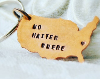 United States Keychain, Long Distance Keychain, USA Keychain, Map Keychain, Long Distance Relationship, Christmas Gift, Copper Keychain, US