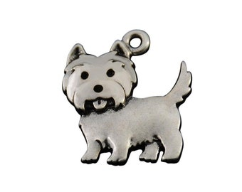 Silky Terrier Charm, Silky Terrier Jewelry, Silver Plated Silky Terrier Dog Charm, Pewter Silky Terrier Charm