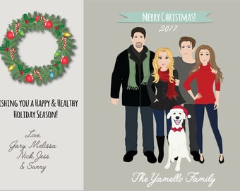 Custom Vector Caricature Family Portrait Christmas or Holiday Card Digital Download