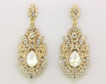 Bridal Earrings,Gold Crystal TearDrop Chandelier Stud Earrings,Bridesmaid Wedding Earrings Gift Jewelry,Dangle Earrings,Prom Earrings