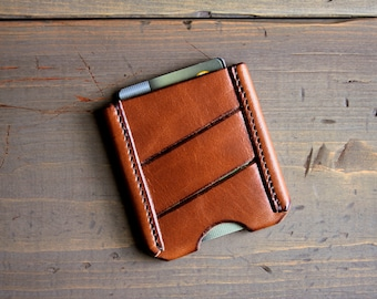 Slim Leather Card Wallet - CardHolder - Men's Front Pocket Wallet - Card Sleeve - Money Clip - Business Card Case - Minimalist Thin Wallet
