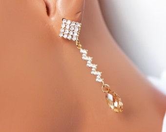 Wedding Earrings, Wedding Jewelry, Gold Rhinestone Dangle Long Earrings, Golden Shadow, Bridesmaids Earrings