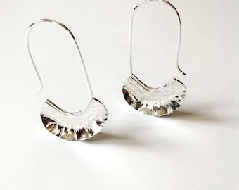 Earrings, Silver Ruffle Hoops