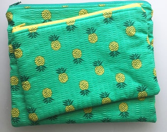 Puckered Pineapple - Zipper Pouches Set of 2