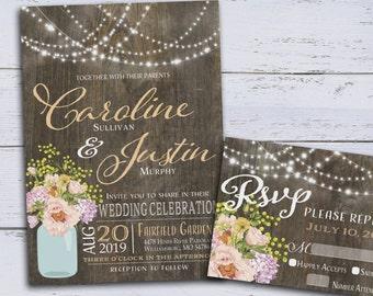 Rustic Wedding Invitation, Country Wedding Invites, DIY Floral Wedding Invitations Printable, Spring Wedding Invites