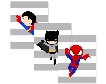superhero wall art PRINTS, pick 4 character prints and background colors, high quality prints, shipped to your door, superhero bedroom decor