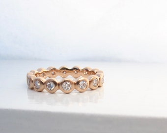 Rose gold diamond eternity ring, eternity ring with bezel set diamonds, bezel eternity ring, alternative eternity ring, gold stacking ring