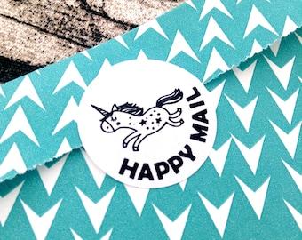 Happy mail unicorn sticker, Happy mail sticker, Unicorn sticker, Snail mail sticker, Unicorn, Sticker, Happy mail, snail mail, #1034
