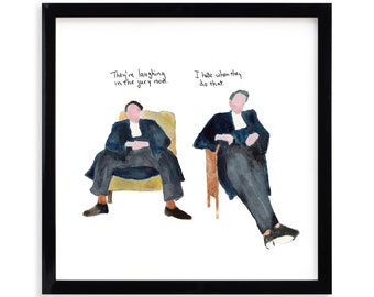 """They're Laughing, Lawyer Limited Edition Archival Prints by Simon Schneiderman Framed 18"""" x 18"""""""