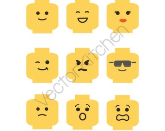 Lego Minifig Head Cutting Template SVG EPS Silhouette Cricut Sure Cuts a Lot Vector Instant Download Heads Happy Sad Sunnies Angry Emotions