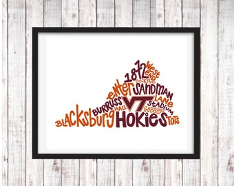Virginia Tech | Hokies | Printable Art | College Student Gift | College Graduation | Dorm Room Decor | Wall Art | Wall Decor