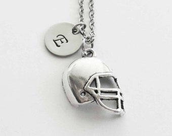Football Helmet Necklace, Football, Sports Necklace, Team Sport, BFF, Silver Jewelry, Personalized, Monogram, Hand Stamped Letter Initial