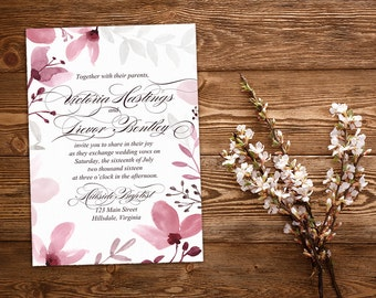"Rustic Wedding Invitation - Watercolor Floral Invitation - Watercolor Wedding Calligraphy ""Rustic Floral"" Watercolor Invitation DEPOSIT"